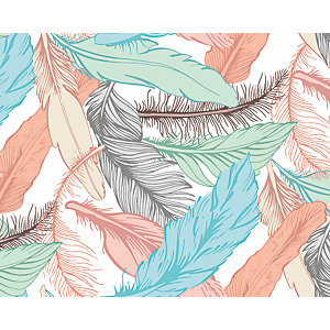 ohpopsi Pastel Feathers Wall Mural