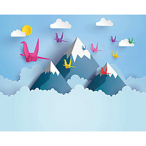 ohpopsi Origami Mountains 3D Wall Mural
