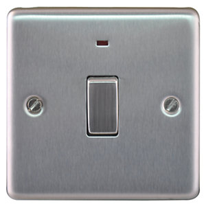 Wickes 20A Double Pole Switch + LED 1 Gang Brushed Steel Raised Plate