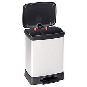 Curver 28 Litre Metallic Effect Duo Recycling Deco Bin