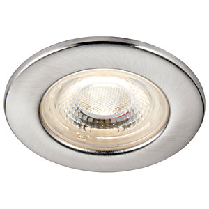 Saxby Integrated LED Fire Rated IP65 Cool White Dimmable Downlight 500lm - Brushed Nickel
