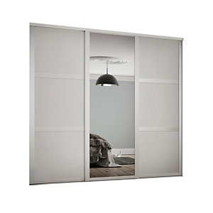 Spacepro Shaker Style 3 White Frame 3 Panel & Mirror Wardrobe Door Kit
