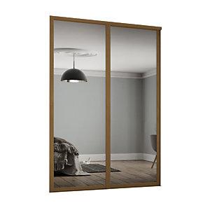 Spacepro 914mm Oak Shaker frame Single panel Mirror Sliding Wardrobe Door Kit