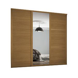 Spacepro 610mm Oak Shaker frame 3 panel & 1x Single panel Mirror Sliding Wardrobe Door Kit