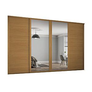 Spacepro 610mm Oak Shaker frame 3 panel & 2x Single panel Mirror Sliding Wardrobe Door Kit