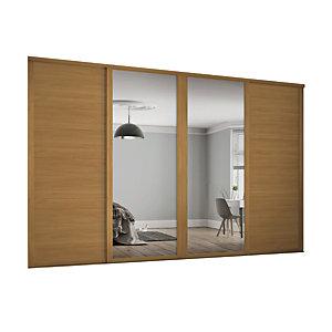Spacepro 762mm Oak Shaker frame 3 panel & 2x Single panel Mirror Sliding Wardrobe Door Kit