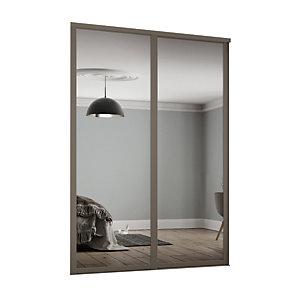 Spacepro 610mm Stone Grey Shaker frame Single panel Mirror Sliding Wardrobe Door Kit