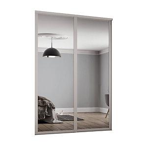 Spacepro 914mm Cashmere Shaker frame Single panel Mirror Sliding Wardrobe Door Kit