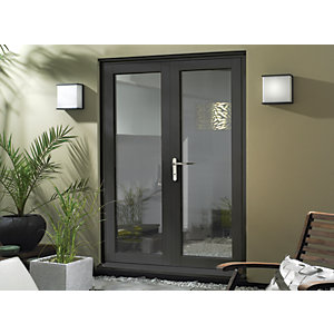 Wickes Burman Slimline Grey French Door - 1190mm