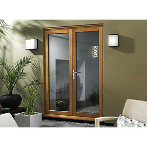 Wickes Eden Slimline Oak French Door - 1190mm