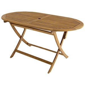Charles Bentley FSC Acacia Wooden Oval Folding Garden Dining Table