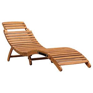 Charles Bentley FSC Acacia Folding Curved Wooden Garden Sun Lounger