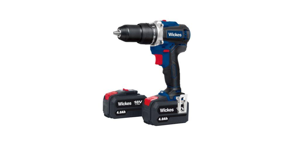 Wickes Cordless 18V Li-ion Brushless Combi Drill 2x4.0Ah