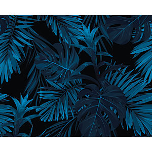 ohpopsi Indigo Tropical Pattern Wall Mural