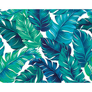 ohpopsi Turquoise/ Green Tropical Leaves Wall Mural
