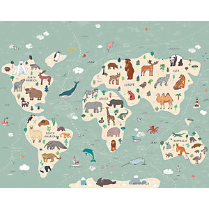 ohpopsi Illustration of a Childrens World Map Wall Mural
