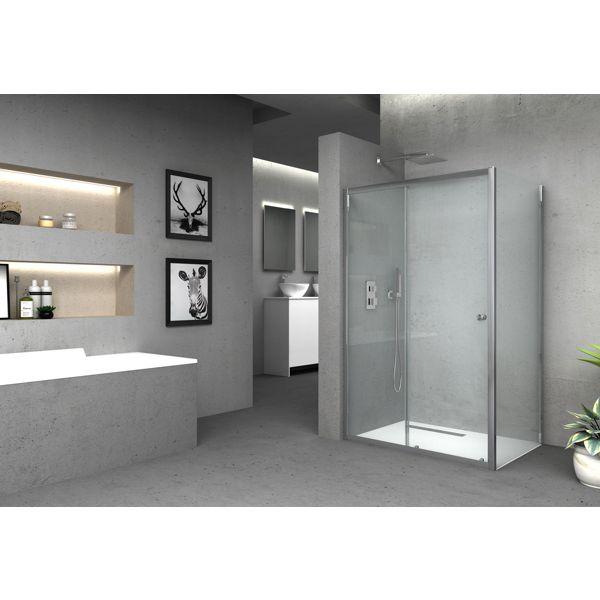 Vision 6mm Chrome Framed Shower Side Panel Only - 1850 x 800mm
