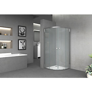 Vision 6mm Chrome Offset Quadrant Framed Shower Enclosure - 1850 x 900mm