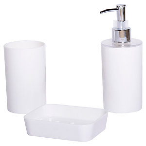 Bathroom Accessories 3 Piece Set - White