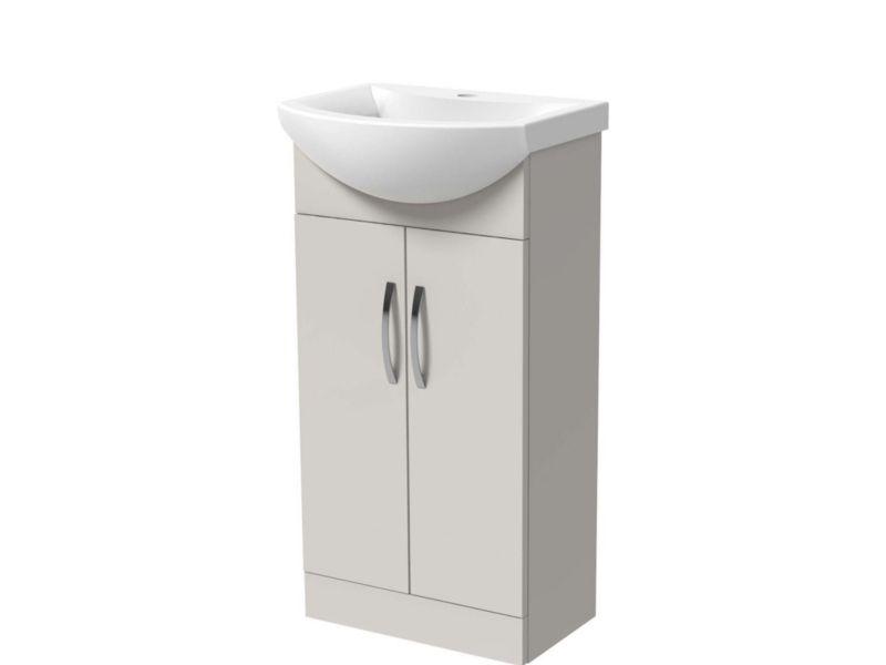 Wickes Grey Gloss Vanity Unit & Basin - 550 X 300mm