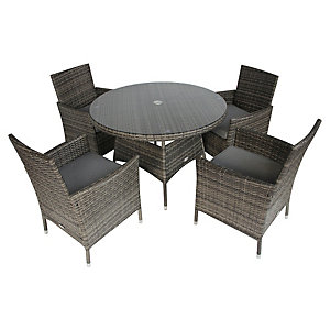 Charles Bentley 4 Seater Rattan Dining Set Grey