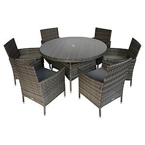 Charles Bentley 6 Seater Rattan Garden Dining Set - Grey