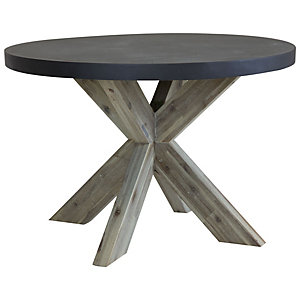Charles Bentley Fibre Cement & Acacia Wood Round Garden Dining Table