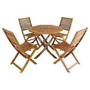 Charles Bentley FSC Acacia 4 Seater Wooden Octagonal Garden Dining Set