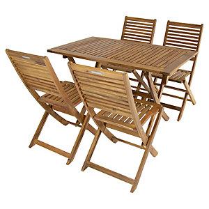 Charles Bentley FSC Acacia 4 Seater Wooden Rectangle Garden Dining Set