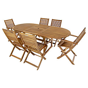 Charles Bentley FSC Acacia 6 Seater Wooden Oval Extendable Garden Dining Set