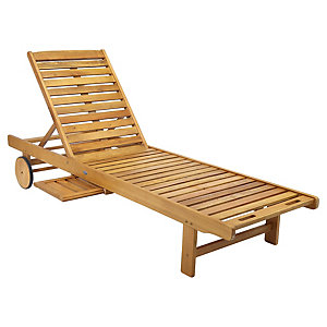 Charles Bentley FSC Acacia Wooden Garden Sun Lounger