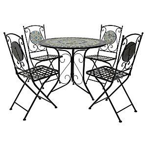 Charles Bentley Mosaic 4 Seater Garden Dining Set - Blue