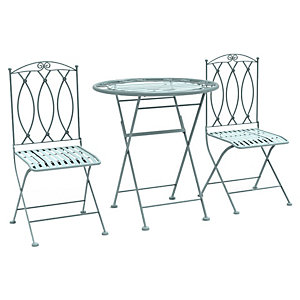 Charles Bentley Wrought Iron Bistro Set Sage Green