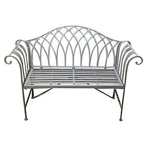 Charles Bentley Wrought Iron Garden Bench - Grey
