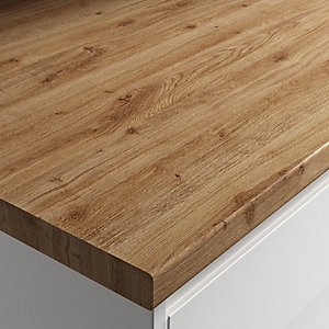 Wickes Laminate Worktop - Chalet Oak Worktop 600mm X 38mm X 3m