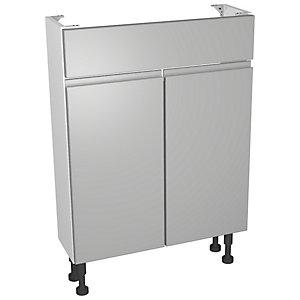 Wickes Hertford Gloss Grey Compact Vanity Unit - 600 x 735mm