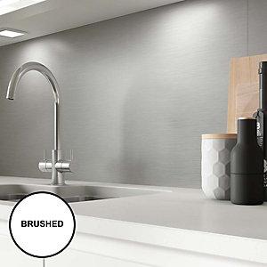 Image of AluSplash Splashback Brushed Silver 900 x 800mm - Brushed