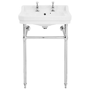 Wickes Oxford Traditional 2 Tap Hole Bathroom Basin with Chrome Stand - 550mm