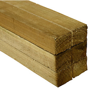 Wickes Treated Sawn Timber - 47 x 47 x 1800mm - Pack 6
