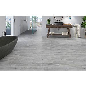 Wickes Mercia Light Grey Wood Effect Wall & Floor Tile - 150 x 600mm