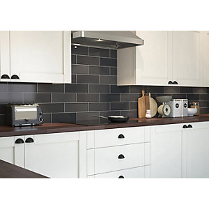 Wickes Soho Carbon Black Ceramic Wall Tile - 300 x 100mm
