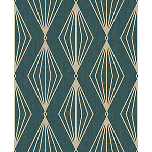 Boutique Marquise Geometric Emerald Wallpaper 10m