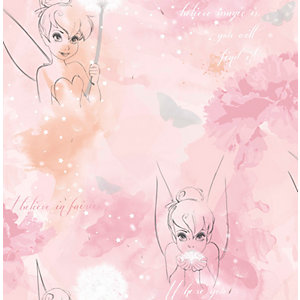 Disney Tinkerbell Watercolour Pink Wallpaper 10m
