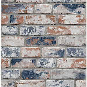 Fresco Distressed Red & Navy Brick Wallpaper 10m