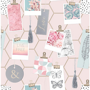 Fresco Clip Frames Pink Wallpaper 10m