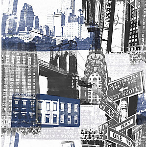 Fresco New York Blue & Black Wallpaper 10m