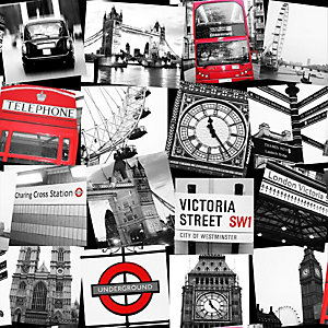 Fresco London Montage Black & Red Wallpaper 10m