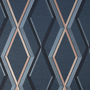 Superfresco Easy Prestige Geometric Navy Wallpaper 10m