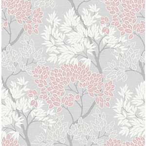 Fresco Lykke Tree Pink Wallpaper 10m