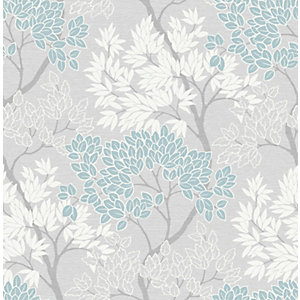 Fresco Lykke Tree Sky Blue Wallpaper 10m